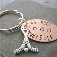 Go Puck Yourself Key Chain, hockey sticks charm