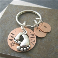 Father's Day Washer Key Chain with kid's initials, baby foot charm