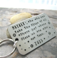 Mother's Quote Key Chain, No One Can Take Her Place