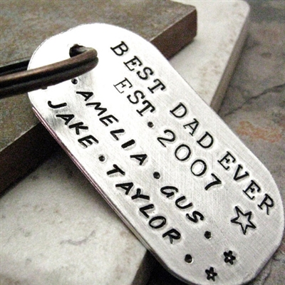 Personalized Best Dad Ever Key Chain