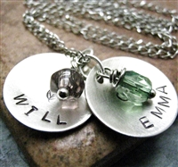Personalized Mommy Necklace, 2 nickel silver discs