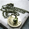Personalized Mommy Necklace, 1 brass disc with birthstone