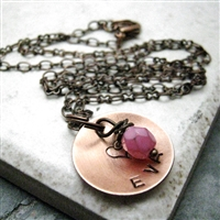 Personalized Mommy Necklace, 1 copper disc with birthstone