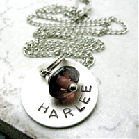 Personalized Mommy Necklace, 1 nickel silver disc with birthstone