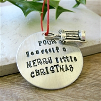 Wine Lover's Ornament, Wine Christmas Ornament, Pour Yourself a Merry Little Christmas