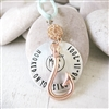 Hooked On You Ornament with initials and anniversary date, rose gold hook