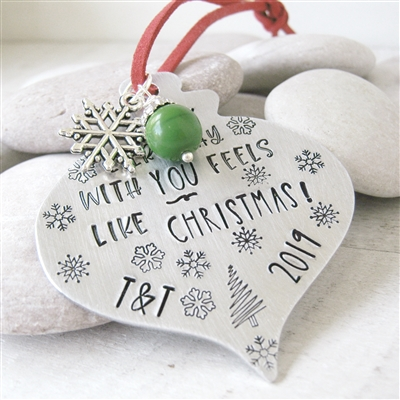Personalized Couples Christmas Ornament, Every Day With You Feels Like Christmas