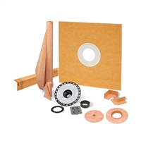 "SCHLUTER KERDI-SHOWER-KIT 48"" X 48"" SHOWER KIT IN ABS WITH STAINLESS STEEL DRAIN GRATE"