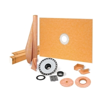 "SCHLUTER KERDI-SHOWER-KIT 38"" X 60"" SHOWER KIT IN ABS WITH STAINLESS STEEL DRAIN GRATE"