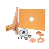 "SCHLUTER KERDI-SHOWER-KIT 38"" X 60"" SHOWER KIT IN PVC WITH STAINLESS STEEL DRAIN GRATE"