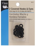 DRITZ D767-1 Covered Hooks & Eyes Black