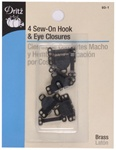 DRITZ D93-1 Sew-On Hook & Eye Closures Black