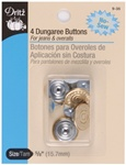 DRITZ D9-35 4 Dungaree Buttons Gilt