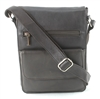 Leather Flap Over Cross Body Messenger Bag Bacci Style #10206 BROWN
