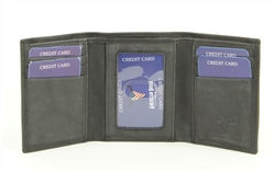 RFID Trifold w/Center I.D. Men's Wallet.  American Bison Product Code 15713 Black