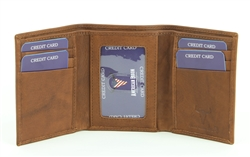 RFID Trifold w/Center I.D. Men's Wallet.  American Bison Product Code 15713 Tan