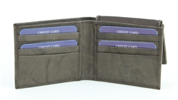 RFID Bifold w/Right Side Fold over I.D. Flap.  American Bison Product Code 15714 Brown