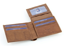 RFID Bifold w/Right Side Fold over I.D. Flap.  American Bison Product Code 15714 Tan