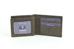 RFID Bifold w/Center I.D. Flap & Corner Contrast Notch.  American Bison Product Code 15715 Brown