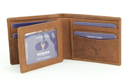 RFID Bifold w/Center I.D. Flap & Corner Contrast Notch.  American Bison Product Code 15715 Tan