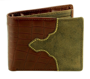 Tooled Gator Print Western Top Flap Bifold  Wallet with Leather Inlay. American Bison Product Code 1721 Brown