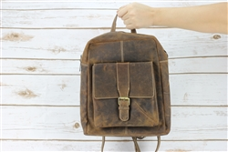 Distressed Brown Leather Backpack, Leather Bookbag, Genuine Leather, Boho Chic handbag.  American Bison Product Code 1744 Brown