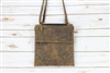 Distressed Brown Leather Slim Flap Over Crossbody Bag, Genuine Leather, Minimalist Handbag. American Bison Product #1747 Brown