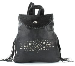 Black Hair on Hide Leather Backpack