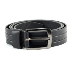 Genuine Leather Double Stitch Inlay Prong Buckle Belt Style #BL250 Black