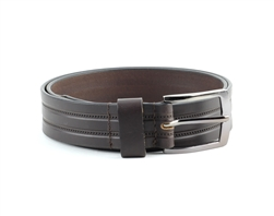 Genuine Leather Double Stitch Inlay Prong Buckle Belt Style #BL250 Brown