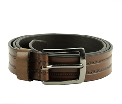 Genuine Leather Double Stitch Inlay Prong Buckle Belt Style #BL250 Tan