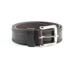 Genuine Leather Checker Embossed Prong Buckle Belt Style #BL252 Brown
