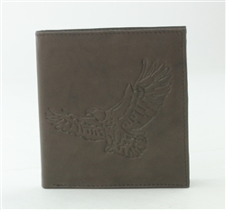 RFID Hipster Bifold wallet with Eagle print, Red Fin, Style: EMB 01E Brown