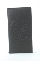 RFID Rodeo Wallet with Deer print, Red Fin, Style: EMB 02D Black