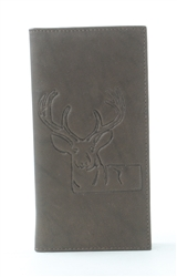 RFID Rodeo Wallet with Deer print, Red Fin, Style: EMB 02D Brown