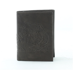 RFID Tri-Fold Wallet with Bass Fish print, Red Fin, Style: EMB 03B Brown
