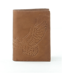 RFID Tri-Fold Wallet with Eagle print, Red Fin, Style: EMB 03B Brown