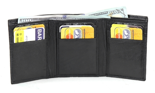 black soft embossed lizard trifold wallet with id window style se 503