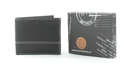 Embossed Black Weave Contrast Stitch Vegan Leather Bi-Fold Wallet Style #VL-558