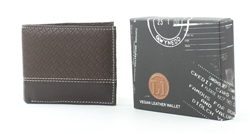Embossed Brown Weave Contrast Stitch Vegan Leather Bi-Fold Wallet Style #VL-558