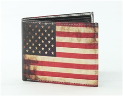 Vintage Amerian Flag Print Vegan Leather Bi-Fold Wallet Style #VL-562