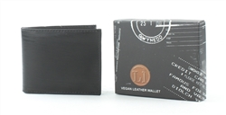 Embossed Black Wood Grain Vegan Leather Bi-Fold Wallet Style #VL-552