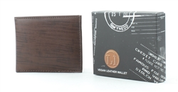 Embossed Brown Wood Grain Vegan Leather Bi-Fold Wallet Style #VL-552