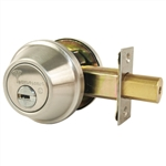 Mul-T-Lock Junior - Brushed Stainless Steel US32D Finish Single Cylinder Cronus Deadbolt Adj Backset Grade 2, HIGH SECURITY, 008 KEYWAY