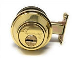 Mul-T-Lock Junior - Polished Shiny Brass US3 Finish Single Cylinder Cronus Deadbolt Adj Backset Grade 2, HIGH SECURITY, 008 KEYWAY