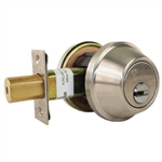 Mul-T-Lock Junior - Brushed Stainless Steel US32D Finish Double Cylinder Cronus Deadbolt Adj Backset Grade 2 HIGH SECURITY 008 KEYWAY