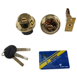 Mul-T-Lock Junior - Polished Shiny Brass US3 Finish Double Cylinder Cronus Deadbolt Adj Backset Grade 2 HIGH SECURITY 008 KEYWAY