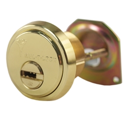 "Mul-T-Lock Junior - Brass US3 Finish Rim/Mortise 1-1/8"" Cylinder (Rimo) Combo (Interchangeable) Solid Brass Construction, HIGH SECURITY, 008 KEYWAY"