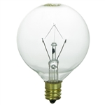 "Sunlite, 1 Pack, 15GCC, 15 Watt, 120V Clear, Vanity Light Bulb, G16.5 Globe, 2"" Diameter, Candelabra Base, Decorative"