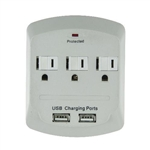 Sunlite, 04068, White, 3 Outlet, 900 Joules Surge Protector Tap, With 2 Port USB Charger